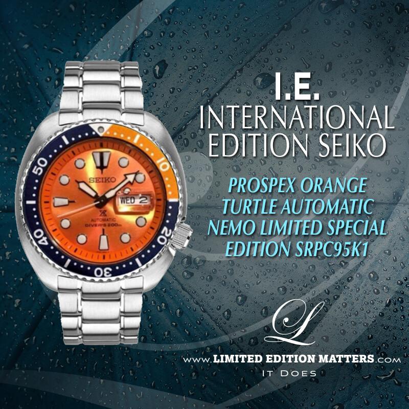 size 40 db258 c09ee SEIKO PROSPEX ORANGE TURTLE AUTOMATIC 200M DIVER NEMO LIMITED SPECIAL  EDITION SRPC95K1